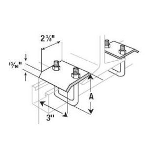 """Superstrut U501-HDG Beam Clamp for Mounting Channel, 3-3/16"""" High, Hot Dipped Galvanized"""