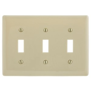 Hubbell-Wiring Kellems NPJ3I Toggle Switch Wallplate, Mid-Size, 3-Gang, Nylon, Ivory