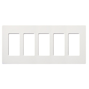 Lutron CW-5-WH Dimmer/Fan Control Wallplate, 5-Gang, White, Claro Series