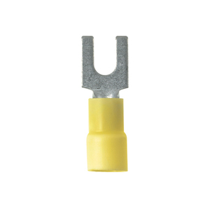 Panduit PV10-10FX-D Fork Terminal, Vinyl Insulated, 12 - 10 AWG, #10 Stud, Yellow