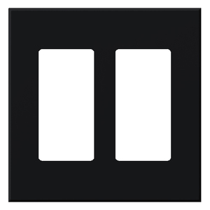 Lutron VWP-2R-BL Wallplate, 2-Gang, Receptacle/Jack, Black