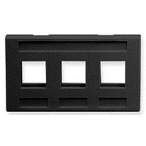 ICC IC107FM3BK Faceplate, 3 Port, Snap-In, Modular Furniture, Black