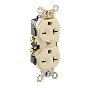 Leviton 5822-I 20A Duplex Receptacle, 250V, 6-20R, Ivory, Side Wired, Spec Grade