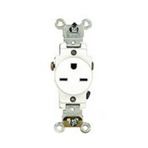 Leviton 5651-W Single Receptacle, 15A, 250V, Narrow Body, White