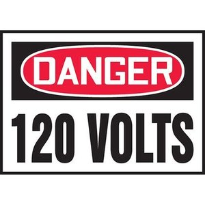 "Panduit PVS0305D3164 3.50"" x 5.00"" DANGER 120 VOLTS  5/PK"