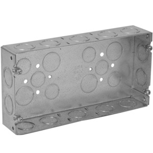 "Hubbell-Raco 952 Gang Box, 3-Gang, 1-5/8"" Deep, 1/2"" & 3/4"" KOs, Welded, Metallic"