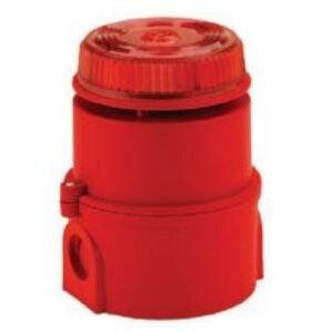 Edwards TCA-0029 Klaxon Sounder Beacon, Syrex Series, 6 - 28V DC, Volume Control, Red