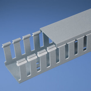 "Panduit G1.5X4LG6 Wiring Duct, Wide Slot, 1-1/2"" x 4"" x 6', PVC, Gray"