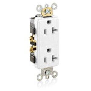 Leviton 16342-W 20A Decora Duplex Receptacle, 125V, 5-20R, White, Side Wired, Spec