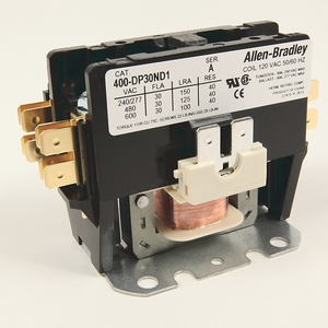 Allen-Bradley 400-DP30ND2 Contactor, Definite Purpose, 30A, 2P, 120VAC Coil, 600VAC Rated