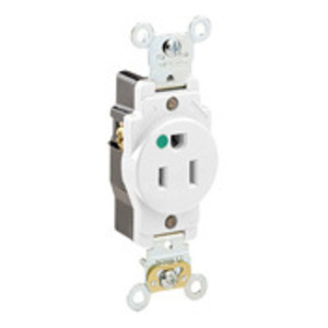 Leviton 8210-W Hospital Grade Single Receptacle, 15A, 125V, White, Extra Heavy-Duty