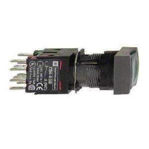 Square D XB6CW3G1B Push Button, 16mm, Square, Flush, Green, LED, 48-120V AC/DC, 1NO
