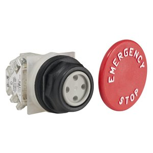 Square D 9001SKR5R05H13 Push Button, 30mm, Mushroom Head, Red, E-STOP, 1NO/NC Contacts