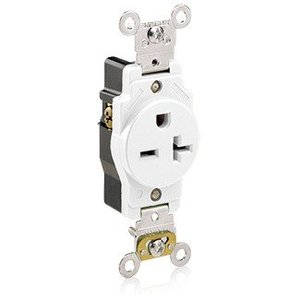 Leviton 5461-W Single Receptacle, 20A, 250V, White