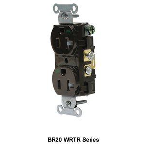 Hubbell-Wiring Kellems BR20WHIWRTR WTR/TAMP, COM GRD, 20A 125V, 5-20R, WH