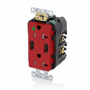 T5832-HGR RED COMB DPLX RECPT/USB HG