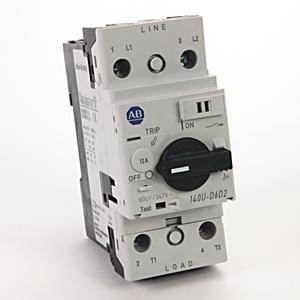 Allen-Bradley 140U-D6D2-C12 Breaker, Motor Protection, Rotary, 12A, 2P, 600VAC, 100kAIC