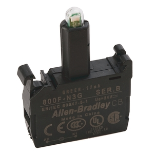 Allen-Bradley 800F-N3G Lamp Module, Integrated LED, Green, 24V AC/DC, Front Latch Mount
