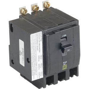Square D QOB3701021 Breaker, Bolt-On, 70A, 3P, 120/240VAC, QOB Type, 10kAIC, Shunt Trip