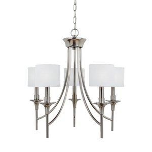Sea Gull 31942-962 5-Light Chandelier, 60W, C11, 120V, Brushed Nickel Finish