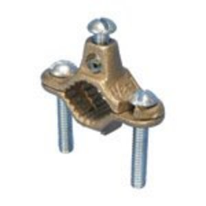 """nVent Erico CWP1JU Water Pipe Ground Clamp, 1/2"""" - 1"""", 10 - 2 AWG, Bronze"""