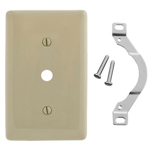 "Hubbell-Wiring Kellems NP12I Telephone Wallplate, 1-Gang, .406"" Hole, Nylon, Ivory, Strap Mount"