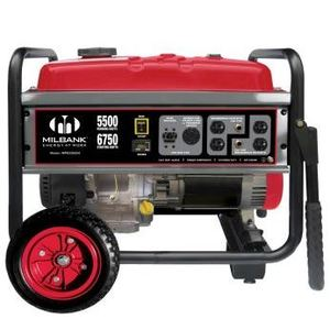 Milbank MPG55004 Generator, Portable, 5.5kW, 240VAC, 1PH, 3600RPM, Gas