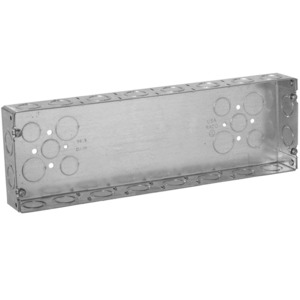 "Hubbell-Raco 955 Gang Box, 6-Gang, 1-5/8"" Deep, 1/2"" & 3/4"" KOs, Welded, Metallic"