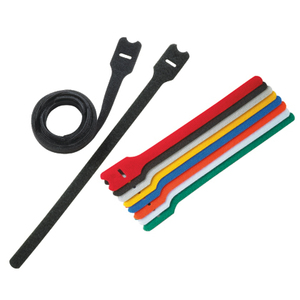 "Panduit HLT2I-X0 Hook & Loop Cable Tie, 8"", Nylon Loop, Polypropylene Hook, Black"