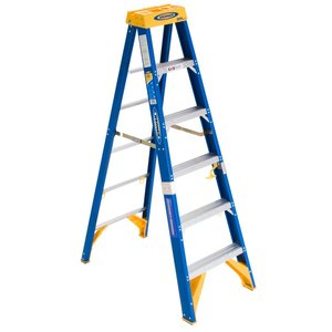 Werner Ladder OBEL06 Job Station Step Ladder, 6', Type IAA, 375 lbs