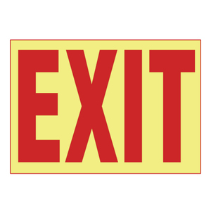 Panduit PPS0710G001 Adhesive Sign, PhotoLuminescent, 'EXIT',