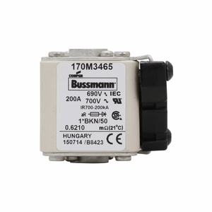 Eaton/Bussmann Series 170M3465 200A Square Body Fuse, Flush End, Size 1, Type K Indicator for Micro