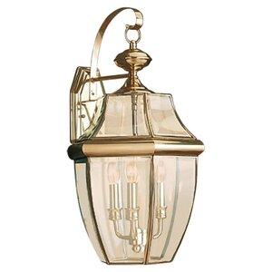 Sea Gull 8040-02 Lantern, Outdoor, 3 Light, 40W, Polished Brass
