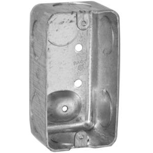 "Hubbell-Raco 663 Handy Box, 1-7/8"" Deep, 3/4"" KOs, Drawn, Metallic"