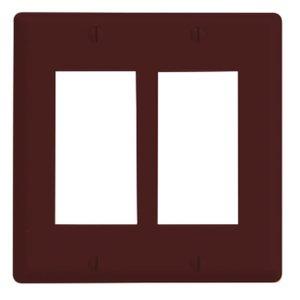 Leviton 80609 Decora Wallplate, 2-Gang, Thermoset,Brown