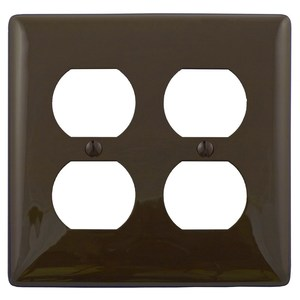 Hubbell-Bryant NP82 Duplex Receptacle Wallplate, 2-Gang, Nylon, Brown