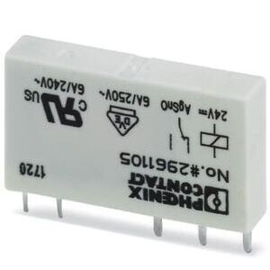 Phoenix Contact 2961105 Relay, Plug-In, Miniature, REL-MR- 24DC/21, 1PDT, 24VDC, 6A, 5 Pin