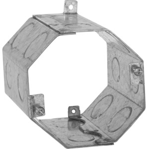 "Hubbell-Raco 274 4"" Concrete Ring, Octagon, 4"" Deep, 1/2"" & 3/4"" KOs, Steel"