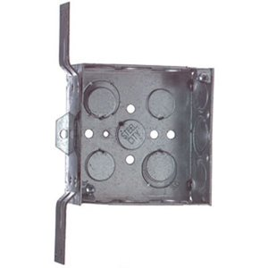 "Steel City 72171CV-1/2-3/4 4-11/16"" Square Box, Welded, Metallic, 2-1/8"" Deep, ""CV"" Bracket"