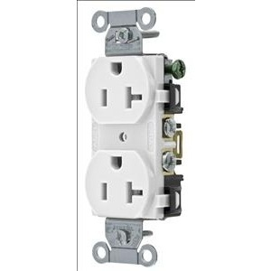 Hubbell-Wiring Kellems R20W Duplex Receptacle, 20A, 125V, 5-20R, White