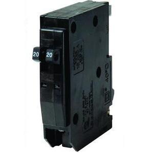 Square D QOT2020 Breaker, Twin, 20/20A, 1P, 120/240VAC, 10 kAIC, Type QO