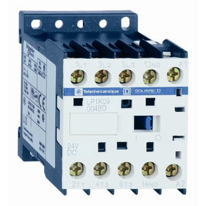 Square D LP1K09004BD Contactor, Motor Rated, 9A, 600VAC, 4P, 4NO Contacts, 24VDC Coil