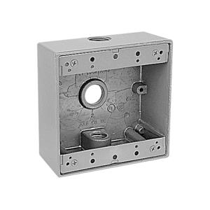 "Red Dot 2IH3-2 Weatherproof Outlet Box, 2-Gang, 2-1/16"" Deep, (3) 3/4"" Hubs"