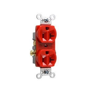 Pass & Seymour CR20-RED Duplex Receptacle, 20A, 125V, Red, 5-20R