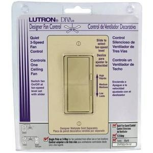 Lutron DVFSQ-FH-IV Fan Control, Decora, 3-Speed, 1-Pole, 1.5A, 120V, Ivory, Limited Quantities Available