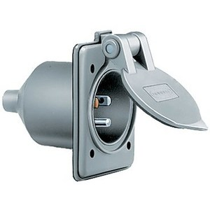 Hubbell-Kellems HBL61CM64 Marine Rated Male Inlet, 15A, 125V, 5-15P, 2P3W, Gray