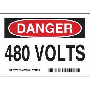 "Brady 86060 480 VOLTS Sign, Self-Sticking Polyester, 3.5"" x 5"""
