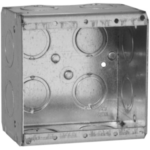 "Hubbell-Raco 691 Masonry Box, 2-Gang, 2-1/2"" Deep, 1/2 "" & 3/4"" KOs, Metallic"