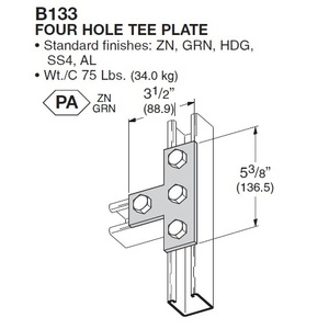 "Eaton B-Line B133ZN Tee Plate, 4 Holes, Length: 5-3/8"", Bolt 9/16"", Steel"