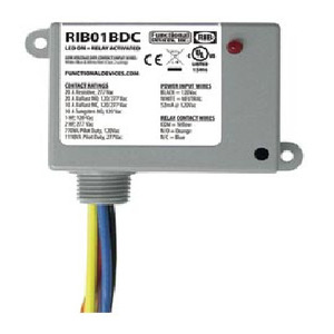 Functional Devices RIB01BDC Relay, Dry Contact Input, 20A, 120VAC Coil, Enclosed, SPDT